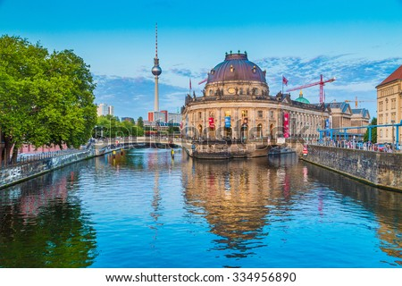 Beautiful view of Museumsinsel (Museum Island) with famous TV tower and Bode Museum  at Spree river in beautiful evening light at sunset, Berlin, Germany - stock photo