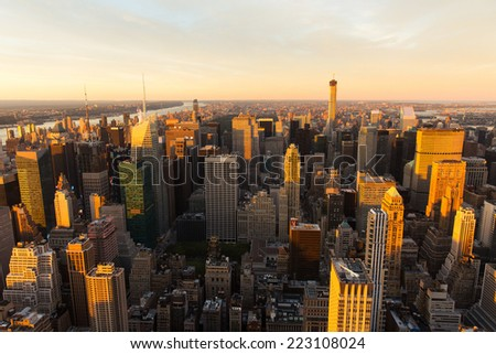 beautiful view of NYC at sunset - stock photo