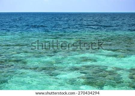 Beautiful view of ocean water on island in resort - stock photo