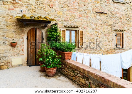 Beautiful view of old traditional houses  in the historic town of Volterra, province of Pisa, Tuscany, Italy