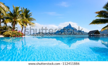 Beautiful view of Otemanu mountain on Bora Bora island