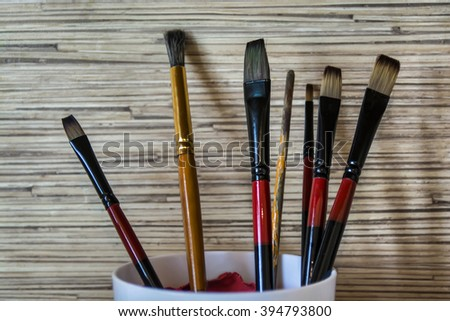 Beautiful view of paintbrushes - stock photo