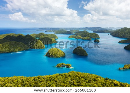 Beautiful view of Palau islands from above - stock photo