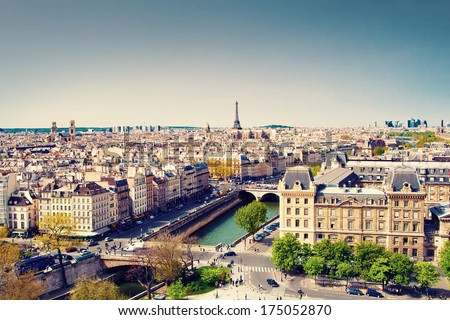 Beautiful view of Paris and Eiffel tower, France - stock photo