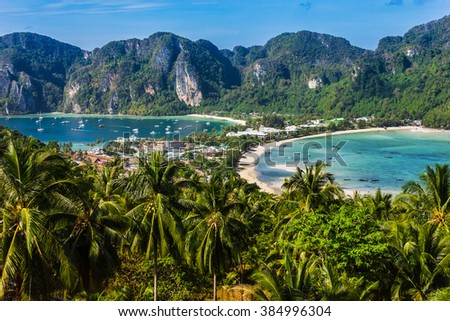 Beautiful view of Phi Phi island from viewpoint - stock photo