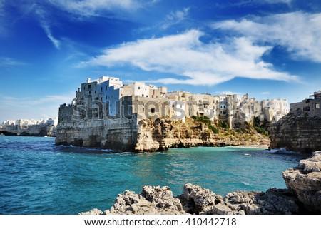 beautiful view of Polignano a mare, Apulia city on mediterranean sea, Southern Italy - stock photo