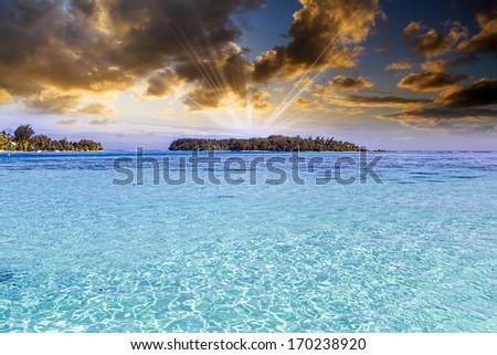 Beautiful view of Polynesian sea. - stock photo
