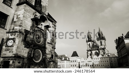 Beautiful view of Prague in winter. - stock photo