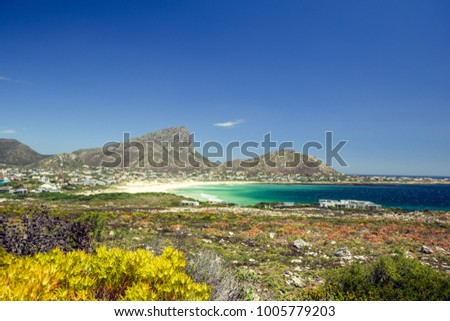 Beautiful view of Pringle Bay, a small beach village located along Route 44 in the eastern part of False Bay near Cape Town. Bushland in the foreground, Hangklip mountain in the background.