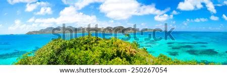 Beautiful view of Providencia tropical Island and blue bay, Green Jungle, perfect Caribbean Sea, - stock photo