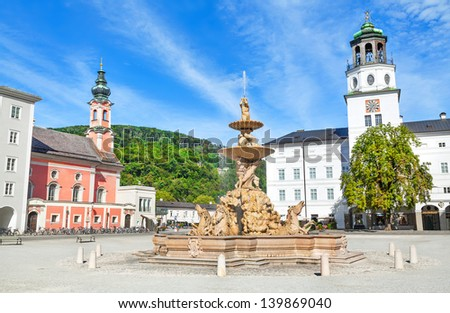 Beautiful view of Residenzplatz with famous Residenzbrunnen in Salzburg, Salzburger Land, Austria - stock photo