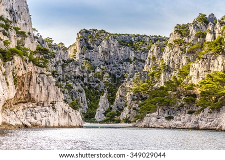 Beautiful View Of Romantic Calanque - Sheltered Inlet Near Cassis, France, Europe - stock photo