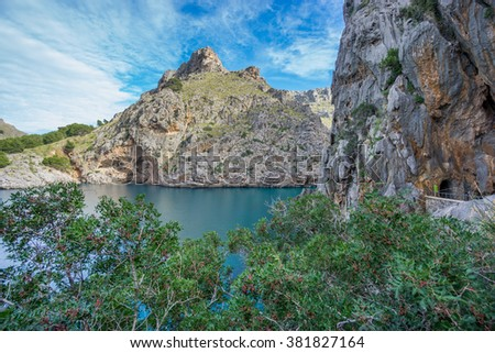 Beautiful view of Sa Calobra in Majorca - stock photo
