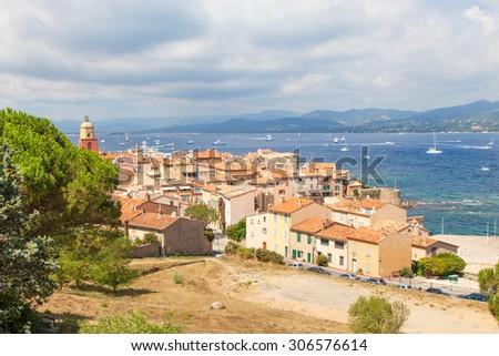 Beautiful view of Saint Tropez, France - stock photo