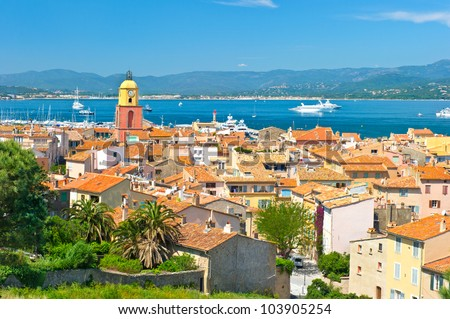 Beautiful view of Saint-Tropez, France with seascape and blue sky - stock photo