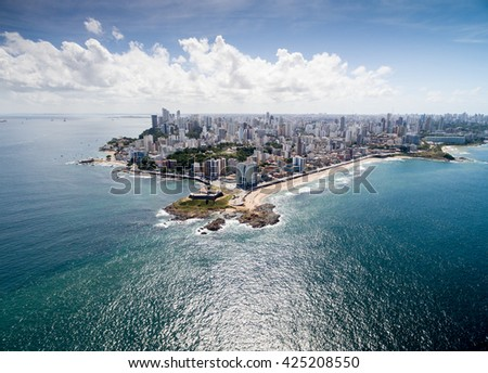 Beautiful view of Salvador coast in Bahia, Brazil