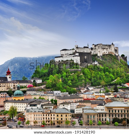Beautiful view of Salzburg skyline ,Austria - stock photo