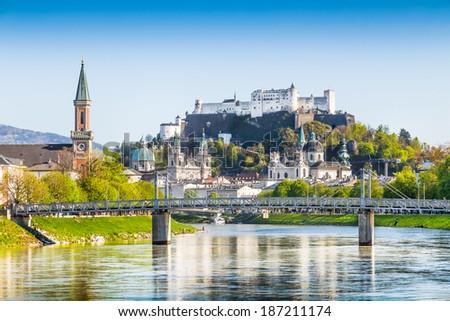 Beautiful view of Salzburg skyline with Festung Hohensalzburg and river Salzach, Salzburger Land, Austria - stock photo