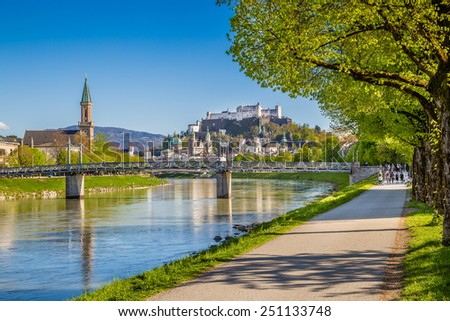 Beautiful view of Salzburg skyline with Festung Hohensalzburg and Salzach river in summer, Salzburg, Salzburger Land, Austria - stock photo