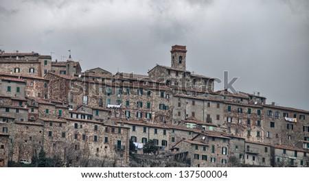 Beautiful view of San Gimignano in Spring, Tuscany, Italy. - stock photo
