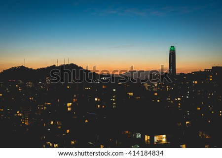 Beautiful view of Santiago de Chile at Dusk with the financial district at the background