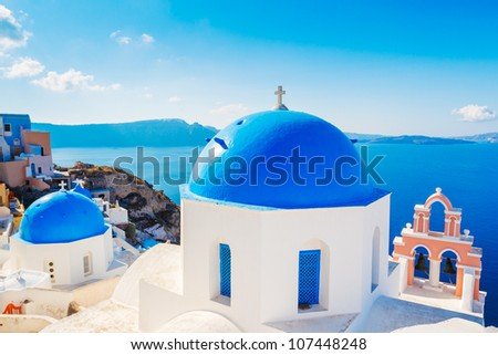 Beautiful View of Santorini Island, View of ocean caldera with churches