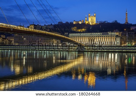 Beautiful view of Saone river at Lyon by night, France - stock photo