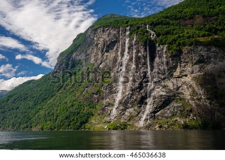 Beautiful view of Seven Sisters Waterfall, Geirangerfjord, Norway