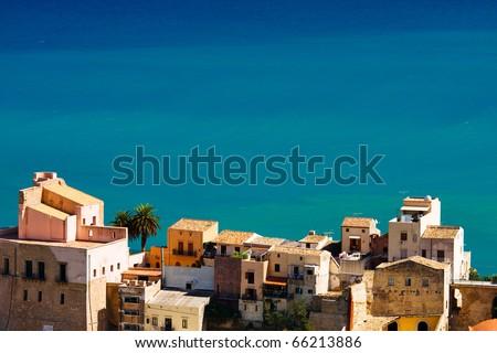 Beautiful view of sicilian city at the seashore,Castellamare del Golfo - stock photo