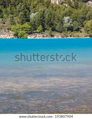 Beautiful view of St.Croix lake shore in Verdon. (Provence, France)  - stock photo