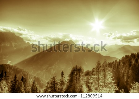 beautiful view of summer mountain landscape - stock photo