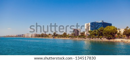Beautiful view of summer street, Limassol, Cyprus - stock photo
