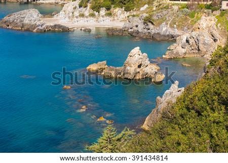 Beautiful view of Talamone coast. Travel destination in Mediterranean sea. Italy - stock photo