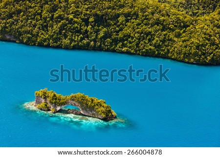Beautiful view of The Arch landmark in Palau from above - stock photo