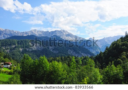 beautiful view of the austrian alps - stock photo