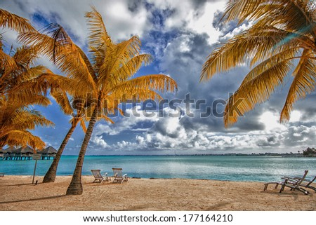 Beautiful view of the beach in Polynesia. - stock photo