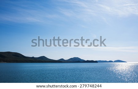 Beautiful view of the Black Sea and the mountains from Koktebel bay early in the morning, Crimea - stock photo