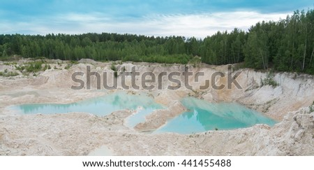 beautiful view of the blue lake and forest - stock photo