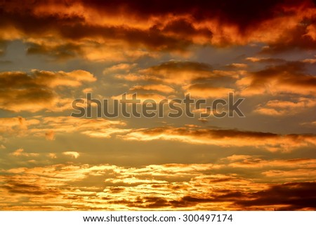 Beautiful view of the blue sky, white clouds, sunset - stock photo