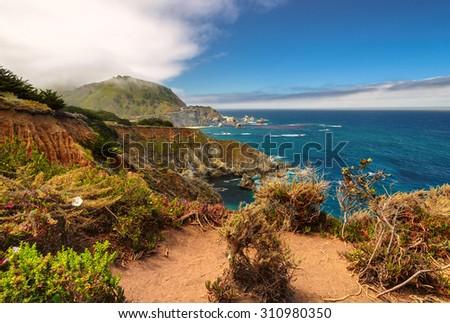 Beautiful View of the California coast, Pacific Ocean coast, California - stock photo
