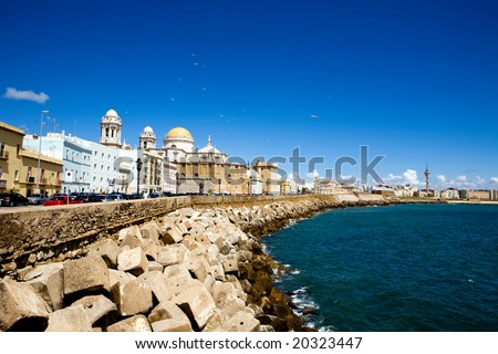 Beautiful view of The Cathedral Nueva in Cadiz, Andalusia, Spain - stock photo