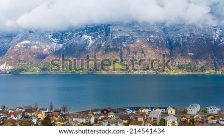 Beautiful view of the city of Switzerland with Lake - stock photo