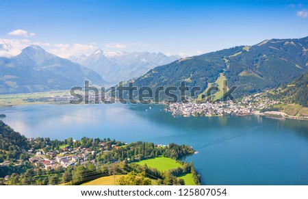 Beautiful view of the city of Zell am See with Zeller Lake in Salzburg, Austria - stock photo