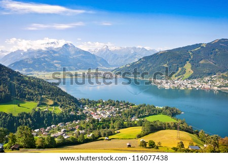 Beautiful view of the city of Zell am See with Zeller Lake in Salzburg, Salzburger Land, Austria - stock photo