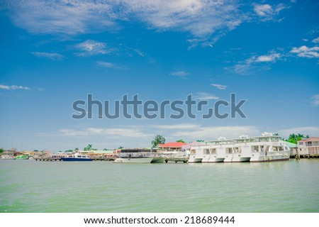 beautiful view of the coast in belize city blue sky ocean - stock photo