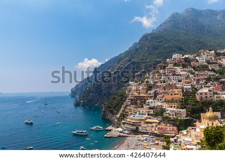 Beautiful view of the colorful houses in Positano, a small town  in Italy on the coast of Mediterranean Sea - stock photo