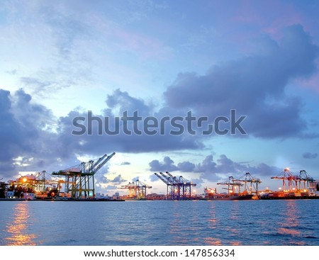 Beautiful view of the container port of Kaohsiung at dusk - stock photo