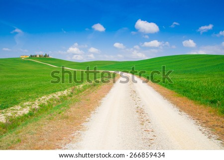 Beautiful view of the country footpath in Val d'Orcia, Tuscanyn - Italy. - stock photo