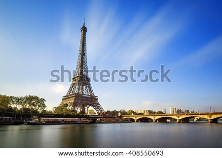 Beautiful view of the Eiffel tower at the river Seine in Paris, France