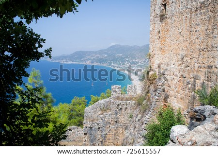 Beautiful view of the fortress and the sea from above. Landscape of Turkey. The wall of old castle.